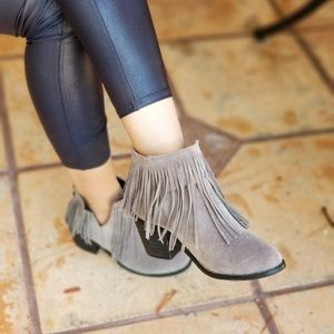 Shoes - NEW! GRAY FAUX SUEDE FRINGE ANKLE BOOTIES